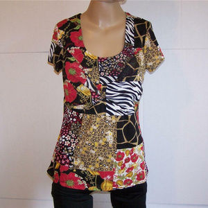 Simply French Top Patchwork Floral Animal Print
